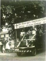 Firetruck leaving the church carrying Charles & Ruth Valentine on their wedding day in 1952