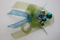 """Jingle Bells"" - bright blue and green, white, silver, and gold"